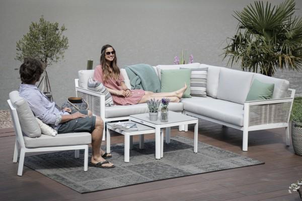 Pyräus Lounge mit Schnurgeflecht weiss