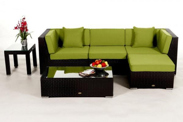 Leonardo Rattan Lounge - Überzugsset grün