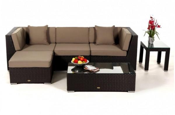 Alicia Rattan Lounge schwarz - Überzugsset sandbraun