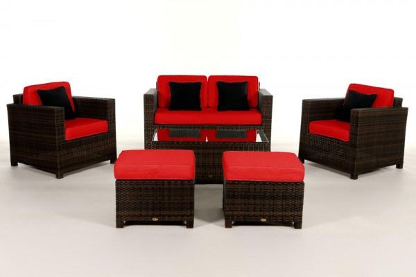 Luxury Deluxe Rattan Lounge braun - Überzugsset rot