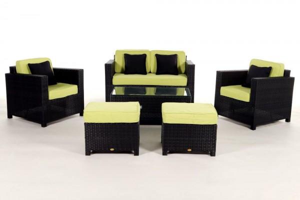 Luxury Deluxe Rattan Lounge Überzugsset grün