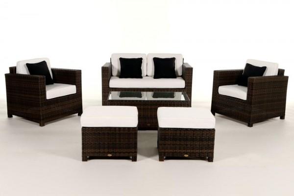 Luxury Deluxe Rattan Lounge braun - Überzugsset beige