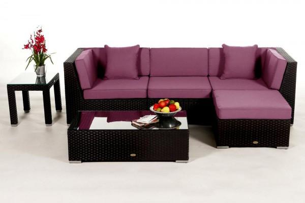 Leonardo Rattan Lounge - Überzugsset lila
