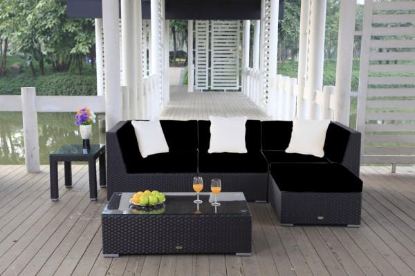 Leonardo Rattan Lounge - Überzugsset schwarz