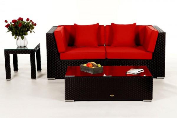 Sunrise Rattan Lounge Überzugsset rot