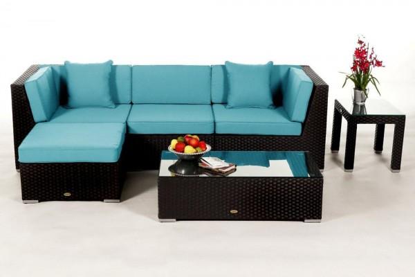 Alicia Rattan Lounge schwarz - Überzugsset aqua