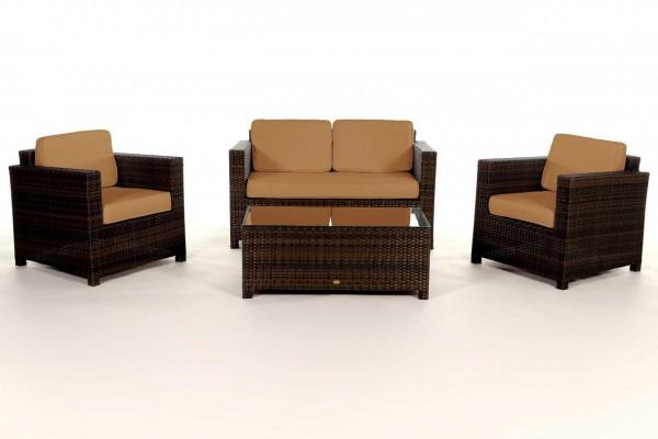 Luxury Rattan Lounge braun - Überzugsset caramel