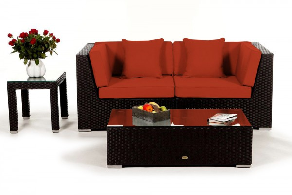 Sunrise Rattan Lounge Überzugsset orange