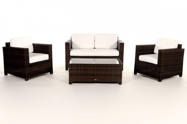 Luxury Rattan Lounge braun - Überzugsset beige