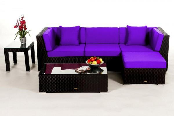 Leonardo Rattan Lounge - Überzugsset violett