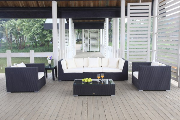 Cabana Rattan Lounge schwarz