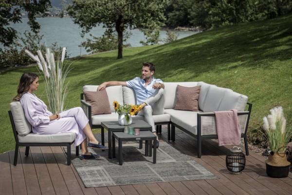 Pyräus Lounge mit Schnurgeflecht stone grey