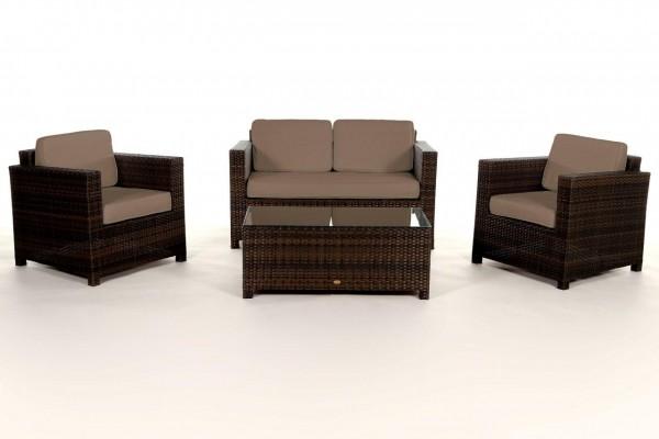 Luxury Rattan Lounge braun - Überzugsset sandbraun