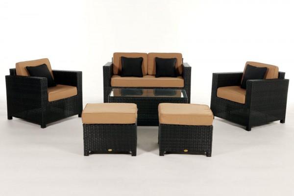 Luxury Deluxe Rattan Lounge Überzugsset caramel