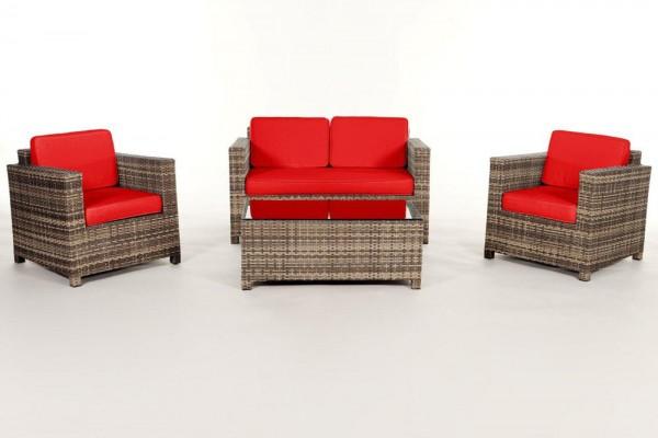 Luxury Rattan Lounge natural Überzugsset rot
