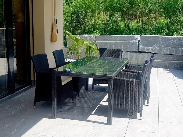 Nairobi Rattan Tisch Set schwarz 180