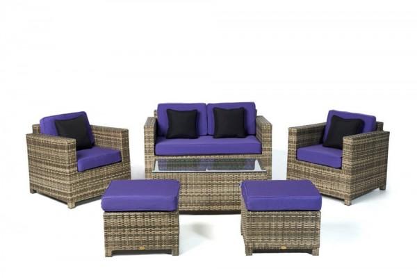 Luxury Rattan Lounge natural Überzugsset violett