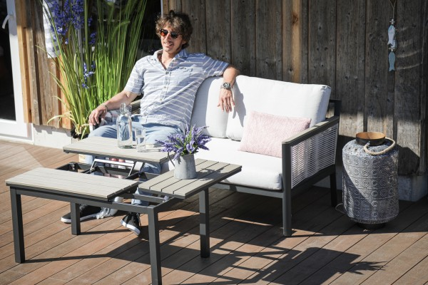 Jeani Lounge mit Schnurgeflecht stone grey