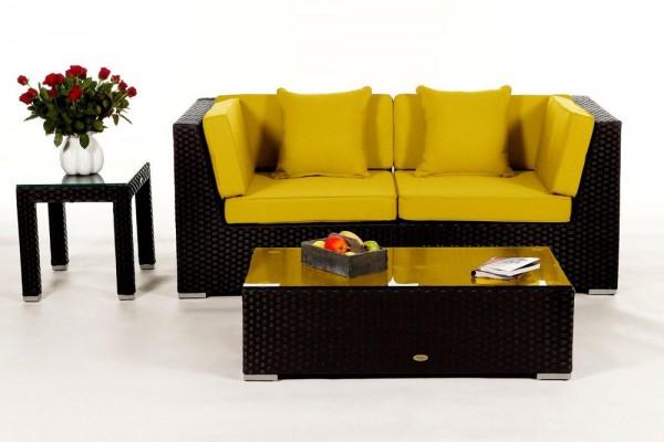 Sunrise Rattan Lounge Überzugsset gelb