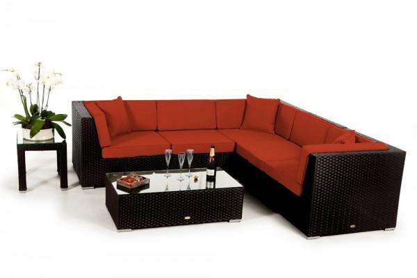 Shangrila Rattan Lounge - Überzugsset orange