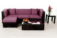 Alicia Rattan Lounge schwarz - Überzugsset lila