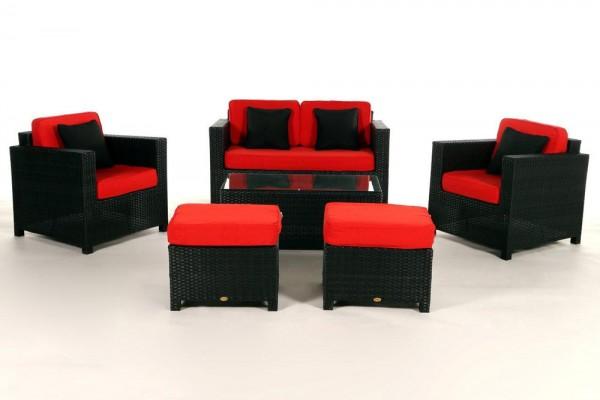 Luxury Deluxe Rattan Lounge Überzugsset rot