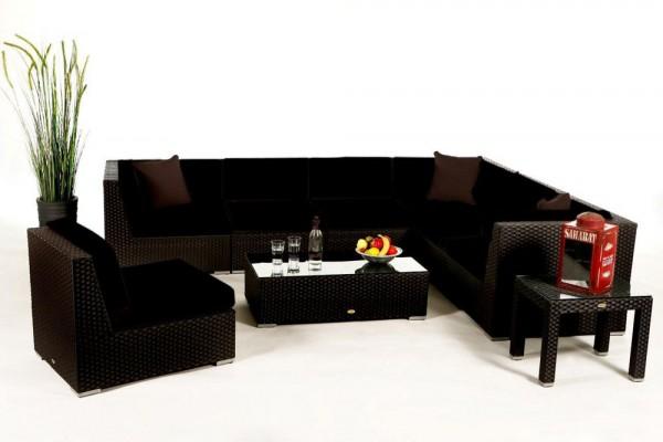 Bermuda Lounge Überzugsset schwarz