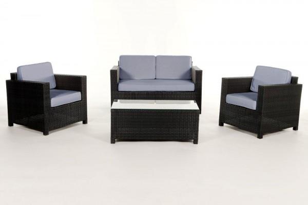 Luxury Rattan Lounge Überzugsset blau