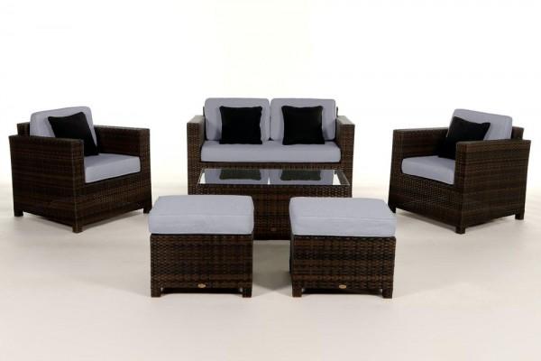 Luxury Deluxe Rattan Lounge braun - Überzugsset blau