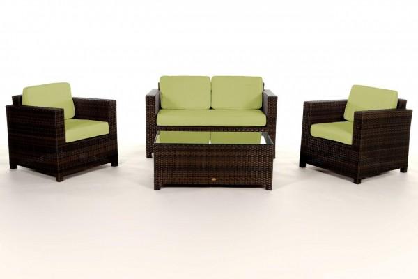 Luxury Rattan Lounge braun - Überzugsset grün
