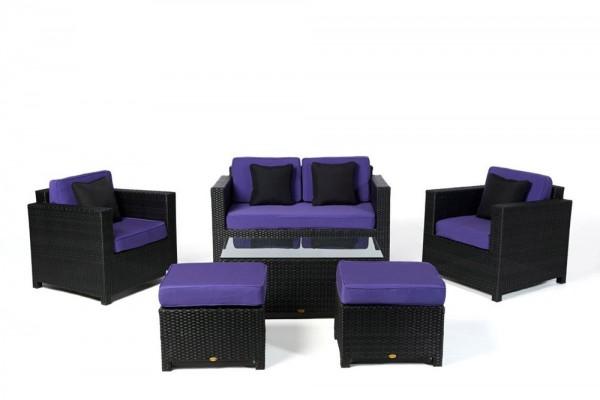 Luxury Deluxe Rattan Lounge Überzugsset violett