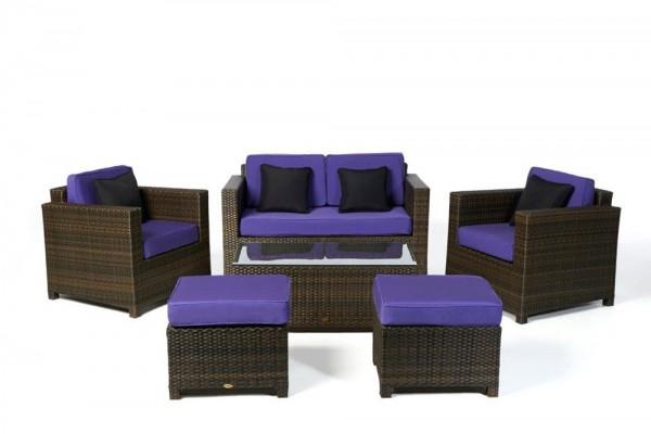 Luxury Deluxe Rattan Lounge braun - Überzugsset violett