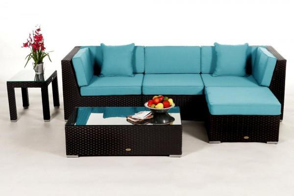 Leonardo Rattan Lounge - Überzugsset aqua
