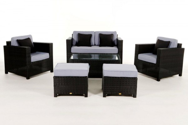 Luxury Deluxe Rattan Lounge Überzugsset blau