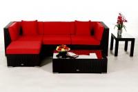 Alicia Rattan Lounge schwarz - Überzugsset rot