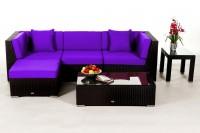 Alicia Rattanmöbel schwarz - Überzugsset violett