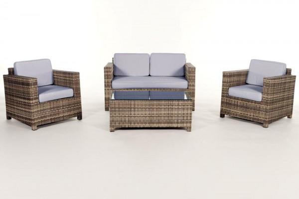 Luxury Rattan Lounge natural Überzugsset blau