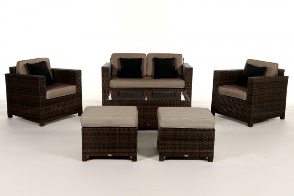 Luxury Deluxe Rattan Lounge braun - Überzugsset sandbraun