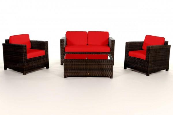 Luxury Rattan Lounge braun - Überzugsset rot