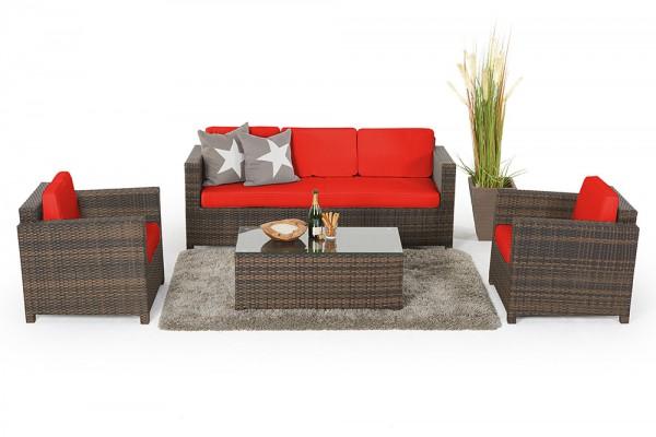 Luxury 3er Lounge braun Überzugsset rot