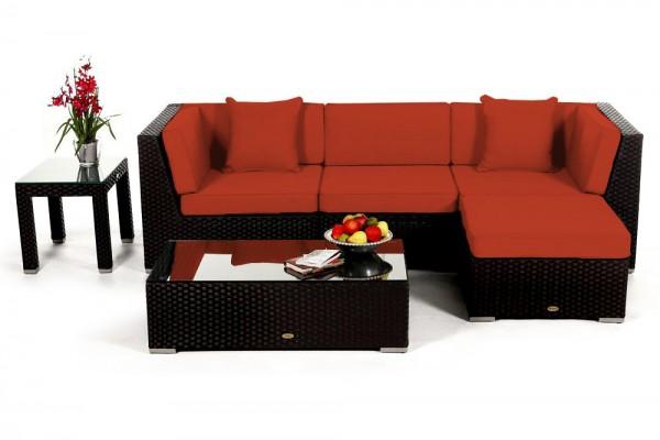 Leonardo Rattan Lounge - Überzugsset orange