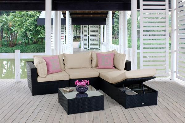 Kuala Rattan Lounge schwarz