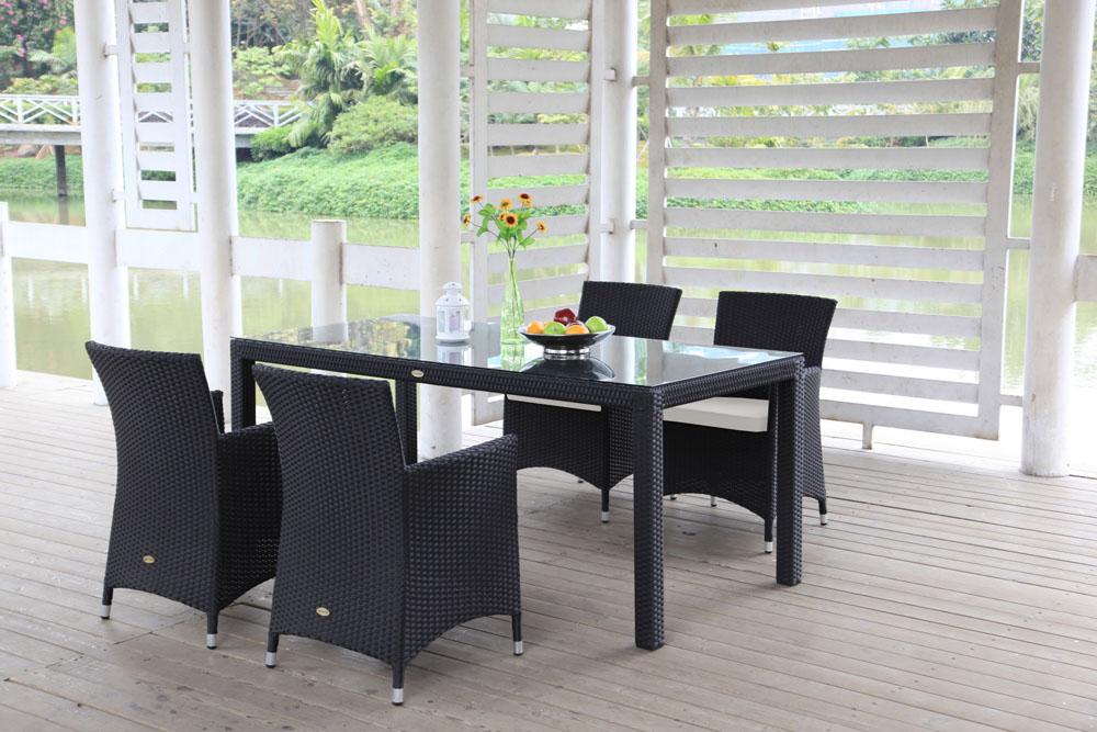 Tisch Und Stühle Für Balkon.Nairobi Rattan Tisch Set Schwarz 180 Kaufen Viplounge