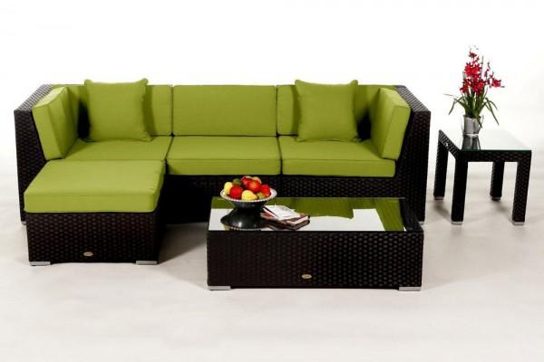 Alicia Gartenlounge schwarz - Überzugsset grün
