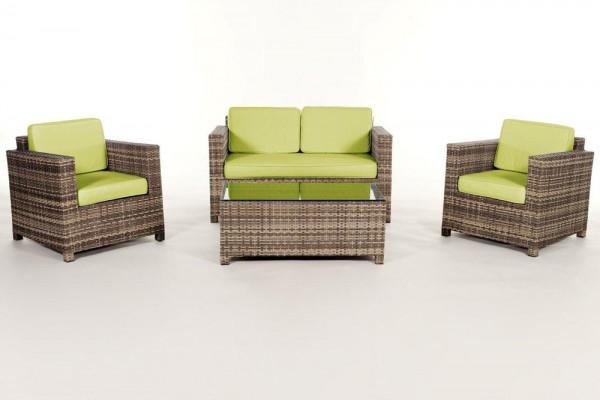 Luxury Rattan Lounge natural Überzugsset grün